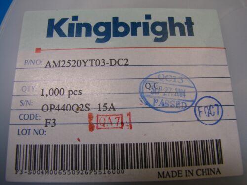 50pcs Kingbright AM2520YT03-DC2 AM2520YD03 Yellow LED