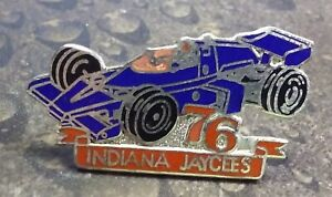 Indiana Jaycees Blue Race car vintage pin badge