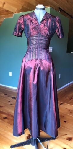 Vintage 1940s Iridescent Metallic House Coat Dress