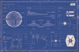 Poster Star Wars - Imperiale Flotte - Blueprint Baupläne Blaupausen ...