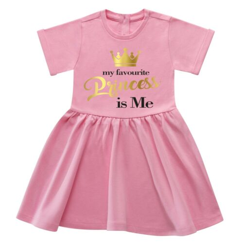 My Favorite Princess is Me 6 mth 6 Yrs Cotton Gold Girl Party Funny Gift Dress