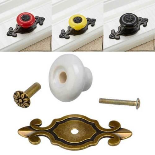 2pcs Home Ceramic Door Knobs Drawer Cabinet Cupboard Wardrobe Pull Handles Decor