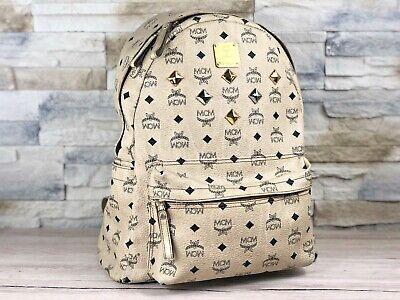 Original MCM Rucksack Backpack Elfenbein Nieten Shopper Tasche Ivory   eBay