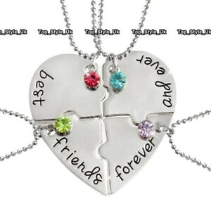 XMAS-GIFTS-FOR-HER-Silver-Heart-Sisters-Necklace-Best-Friends-Forever-Girls-E9