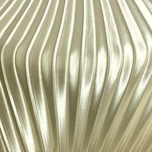 Metallic Faux Silk Satin Pleated Fabric Stretch Cloth Costume Skirt Material DIY