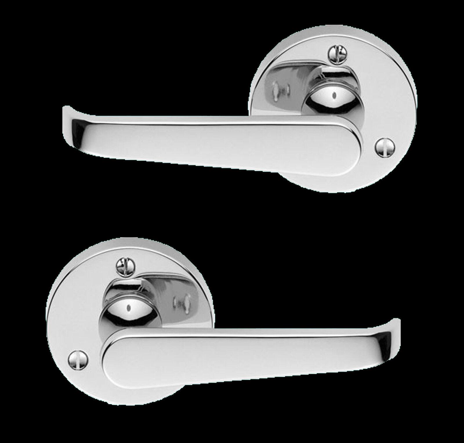Polished Chrome Victorian Round pink Lever Door Handle Set RV01C