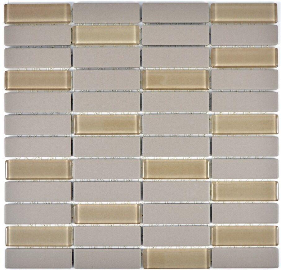 Mosaik Fliese Keramik Stäbchen grau rutschhemmend WC |24-0212-R10_f |10 Matten