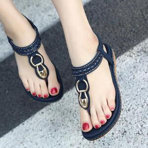0c0bf20f0fd3 Women Summer Bohemia Slippers Flat Flip Flops Beach Sandals Clip Toe ...