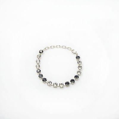 Damen Armband Tennis 925 Silber Versilbert Swarovski Kristalle Schwarz Weiß