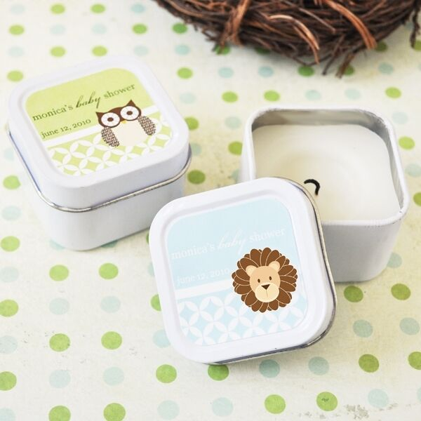 48 Personalized Square Tin Baby Animal Candles Baby Shower Candle Favors