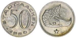 Notgeld Aachen 50 Pfennig 1920 prägefrisch 53575
