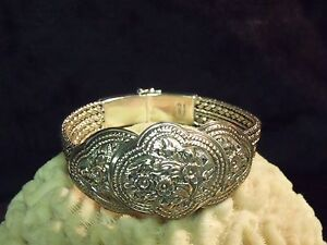 Retro Style Sterling Silver Thai Floral Bracelet Mesh 925 Byzantine Chain Cuff