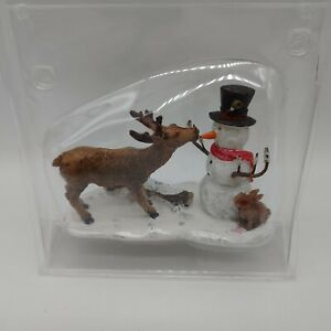 """Lemax Village Collection """" Snack Time""""  Deer, Snowman & Bunny Figurine"""