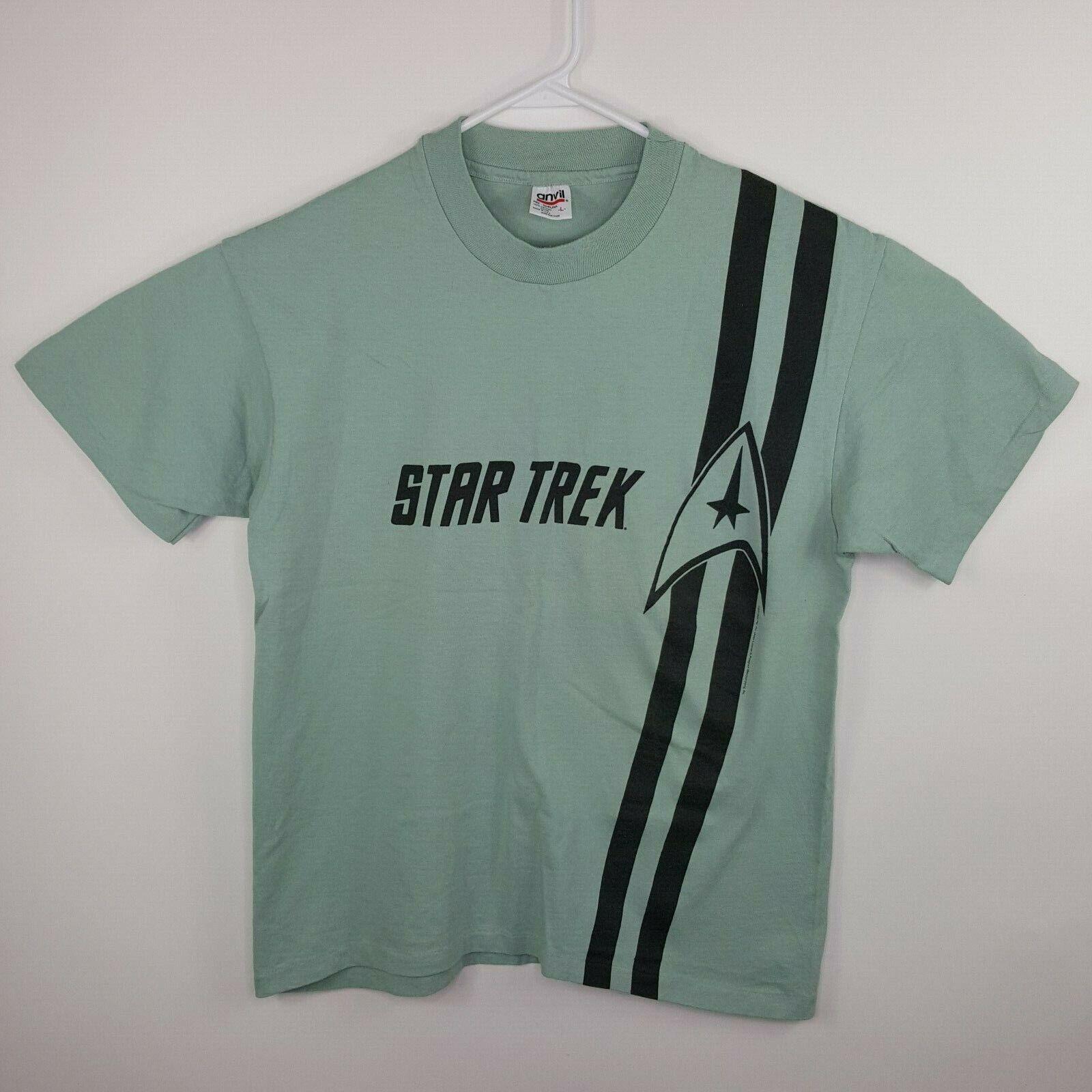 Vintage 1996 Men's Star Trek USA Made Single Stitch Light Green T Shirt Large L