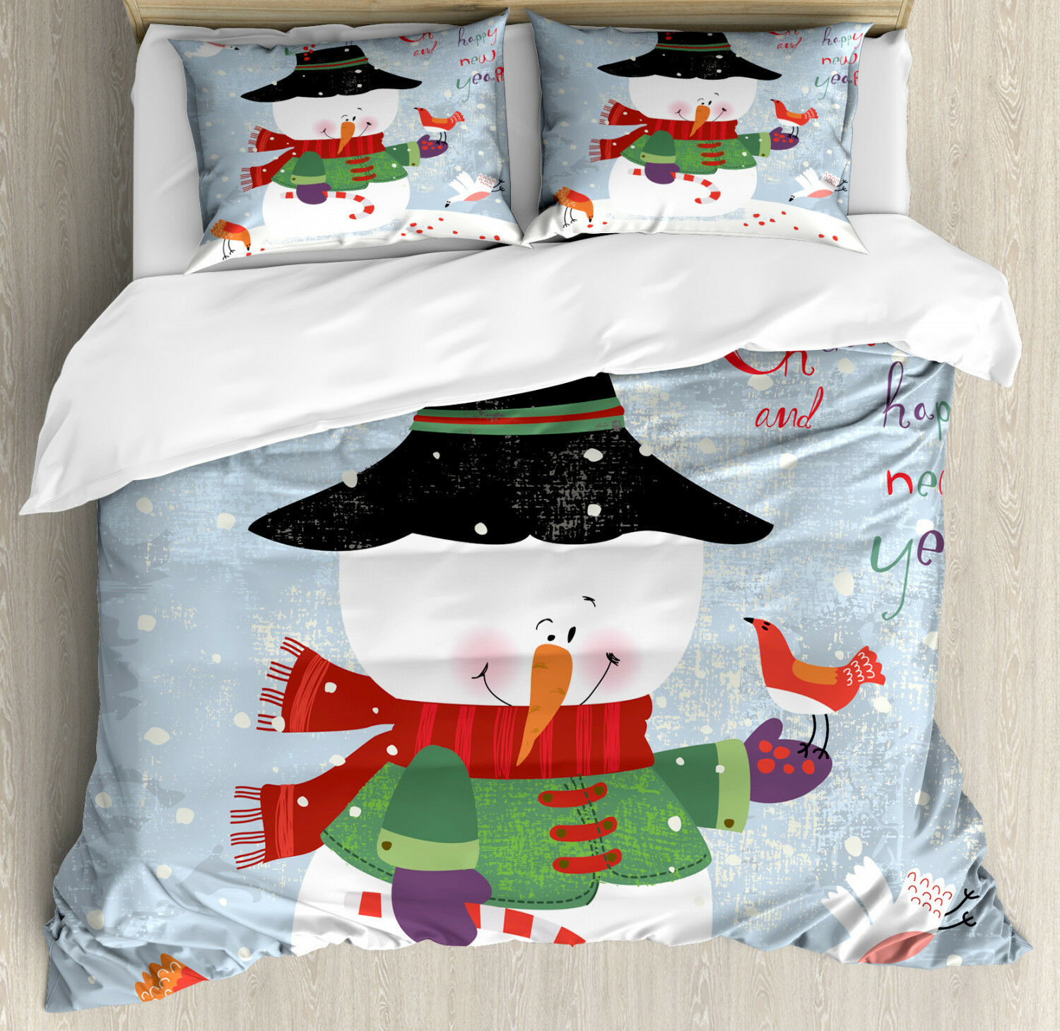 Snowman Duvet Cover Set with Pillow Shams Xmas New Year Grunge Print