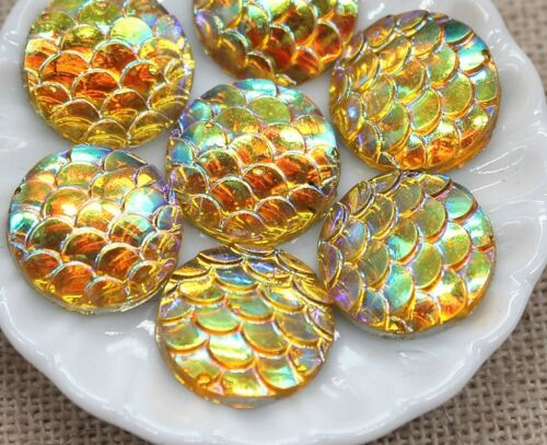 10 beau brillant Sirène Poisson à dos plat 12 mm cabochons Crafts