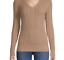 thumbnail 1 - NEW St Johns Bay Small Cable Knit Beige V-neck Cotton Sweater Brown Tan JCP S