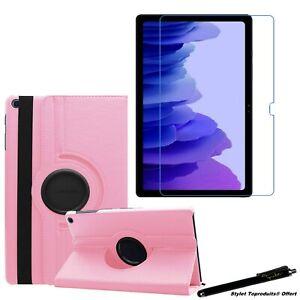 """Housse Etui Rose pour Samsung Galaxy Tab A7 10.4"""" 2020 T500+ Vitre de protection"""