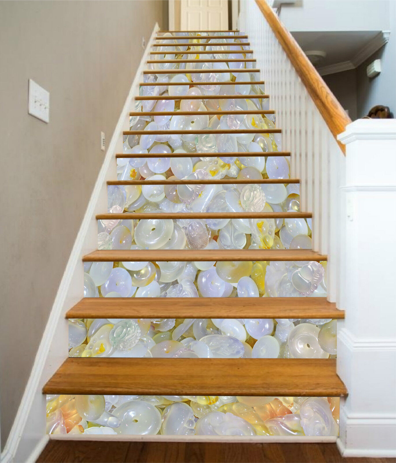 3D Jade Stein 573 Stair Risers Dekoration Fototapete Vinyl Aufkleber Tapete DE