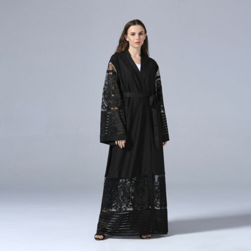 Abaya Dubai Muslim Lace Women Open Front Cardigan Embroidery Islamic Maxi Dress