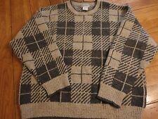 VTG LL BEAN USA BLOCK FISHERMEN Wool MENS XL Sweater EUC GRAY TAN