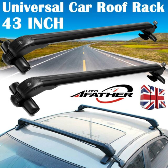 43Inch Cars Black Anti Theft Lock Car Roof Bars Without Rails Lockable Rack UK