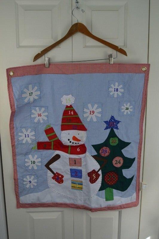 Pottery Barn Kids Advent Calendar Christmas Countdown Snowman Holiday rot Blau