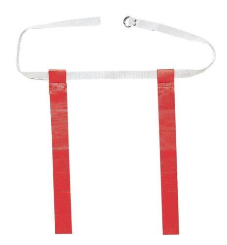 New Martin Dozen 12 OSFA Flag Football Web Belts 2 Tear Away Attached Flags Red