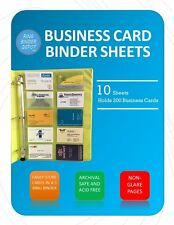 Business Card Sheet Protectors For 3 Ring Binder 10 Pack 85 X 11 20 Cards