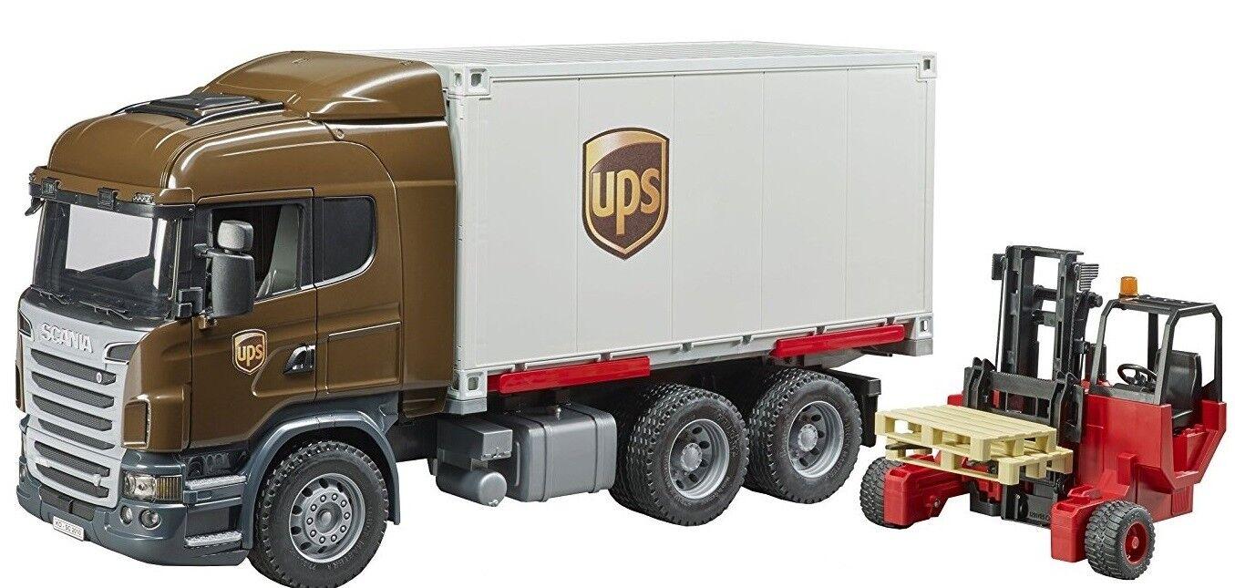 BRU3581 - Camion porteur SCANIA R aux colors UPS avec caisse déposable et char