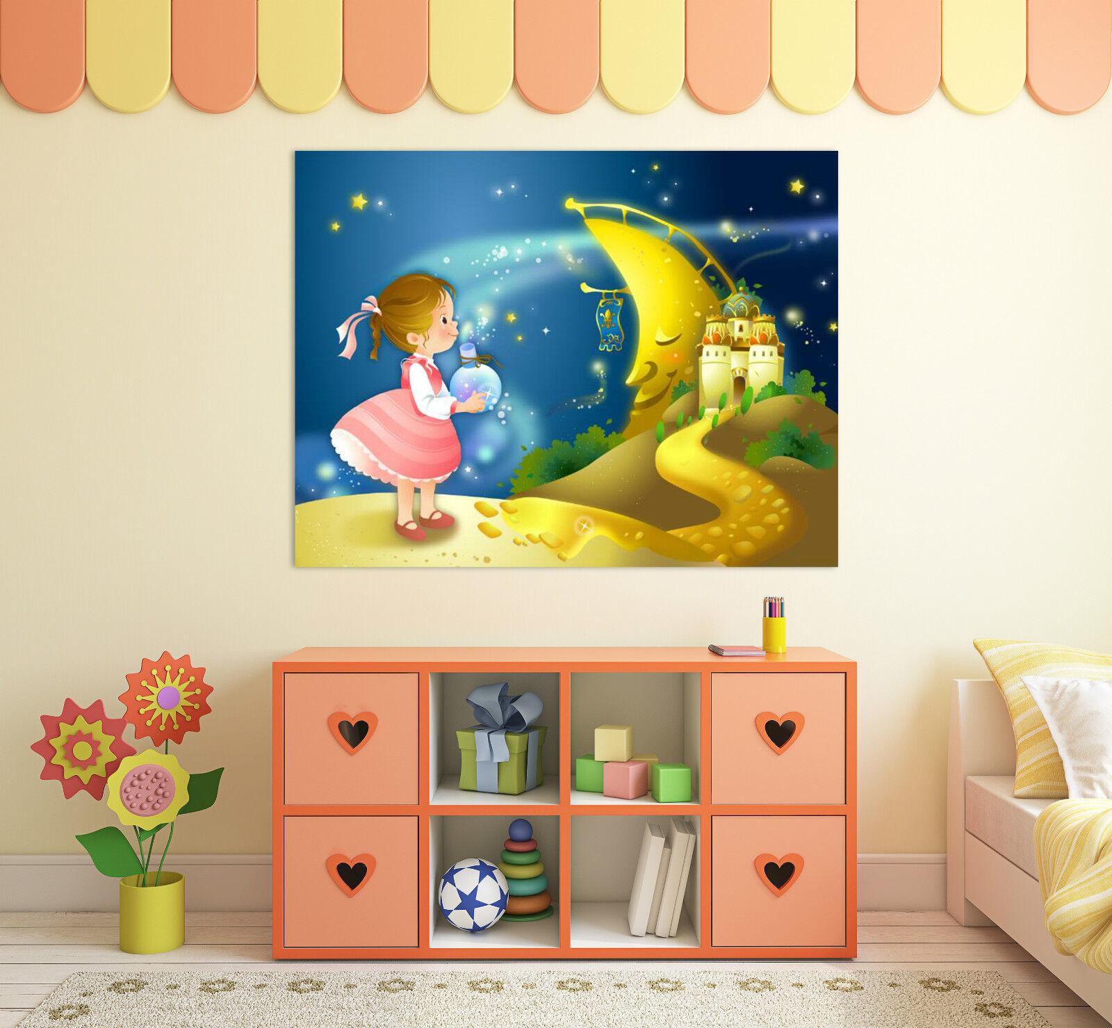 3D Mond-Mädchen 3 Fototapeten Wandbild Fototapete BildTapete Familie AJSTORE DE