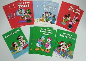17 Vtg Mickey and Friends Christmas Cards for Kids 6 Design Red Envelopes Minnie