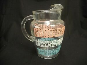 VINTAGE-HAZEL-ATLAS-CLEAR-GLASS-PITCHER-PINK-TURQUOISE-WHITE-BANDS-MID-CENTURY