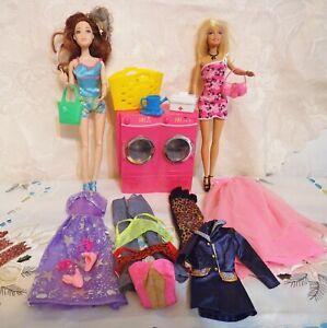 Konvolut-Barbie-Mobel-Bekleidung-Zubehor-2-Puppen-Waschmaschine-Kleinteile