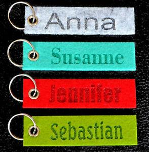 Text viele Farben Schlüsselanhänger Schlüsselband Lasergravur mit Wunschname