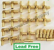 30 12 Pex Brass Fitting 10 Ea Elbowcoupler Tee Lead Free Crimp Fittings