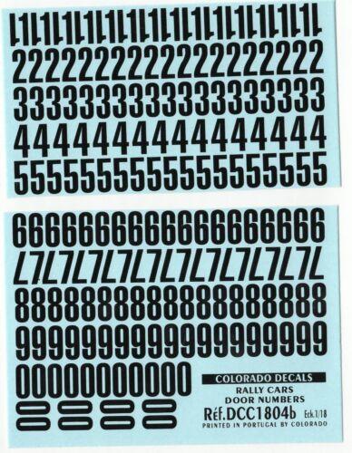 Decalbogen Startnummern schwarz 1:18 1804b