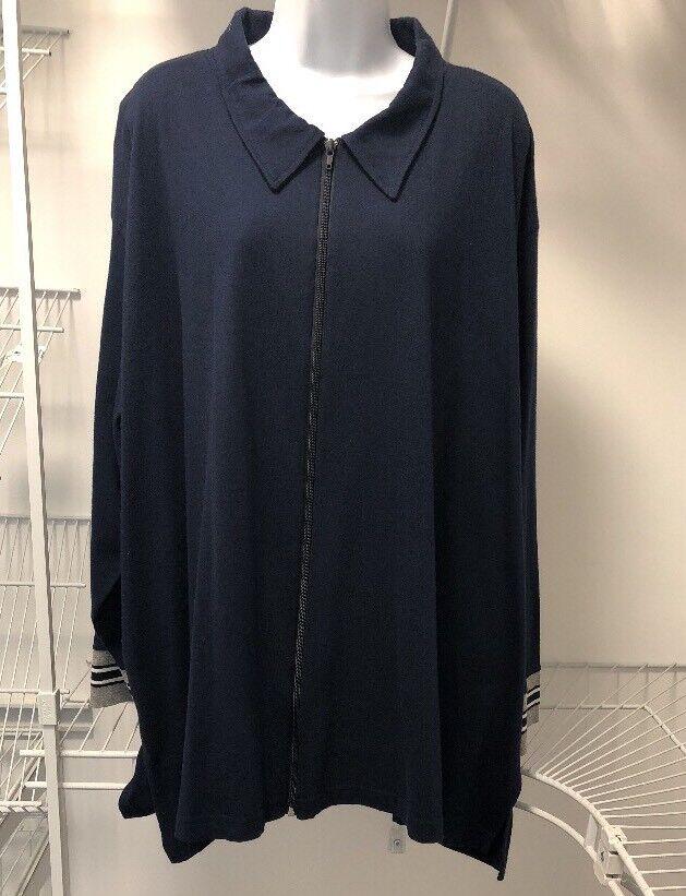 NEW Ulla Popken Ladies Plus Navy Zip Up Cotton Cardigan Top. ULA 320
