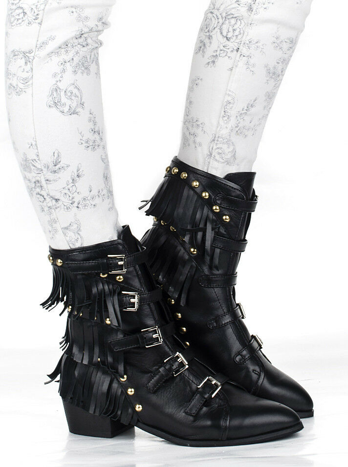 womens Tassel buckle strappy Rivet zip up Leather ankle boots Fringe shoes Punk