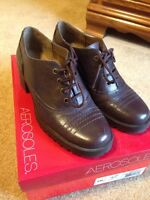 Womens Aerosole Dark Brown Leather Amnessty 6m Oxford Lace Up Shoes