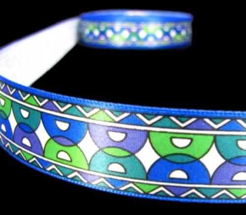 "5 Yds Geometric Mod Art Deco Green Purple Blue Satin Ribbon 7//8/""W"
