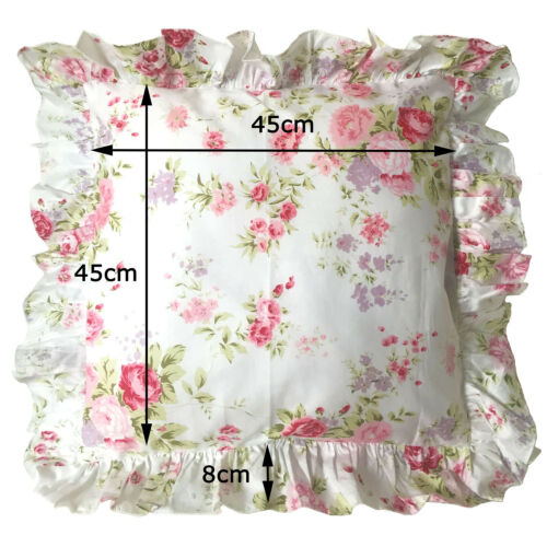 Shabby Chic Floral Ruffled Square Cotton Throw Pillow Case White Cushion Cover