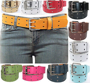 2 Row 2 Hole Punch Leather Belt 2 Prong Buckl Unisex Womens  Mens  S M L XL