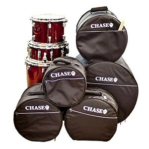 chase padded drum kit gig bag set soft case 5 piece snare bass tom black bags ebay. Black Bedroom Furniture Sets. Home Design Ideas