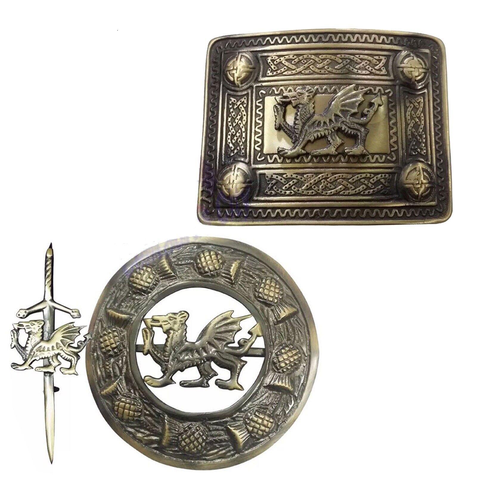 HS Kilt Belt Buckle Welsh Dragon Fly Plaid Brooch Kilt Pin Celtic Antique Finish