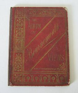BOURNEMOUTH-VIEW-ALBUM-BOOK-c1880-s-CHARLES-REYNOLDS-21-SEPIA-GLAZED-CHROMOLITHO