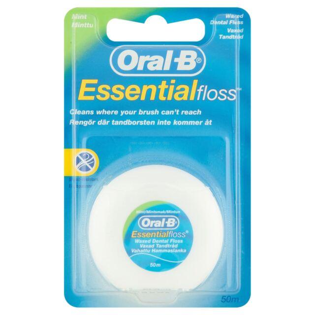 Oral-B Essential Dental Floss Mint Waxed 50m, Medium - Removes Plaque & Bacteria