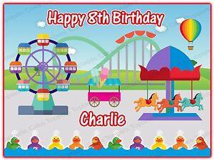 Personalised Fun Fair Fairground Theme Park Edible Icing Birthday Cake Topper