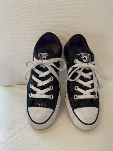 Converse All Star Low Black Sequin Sparkle Womens