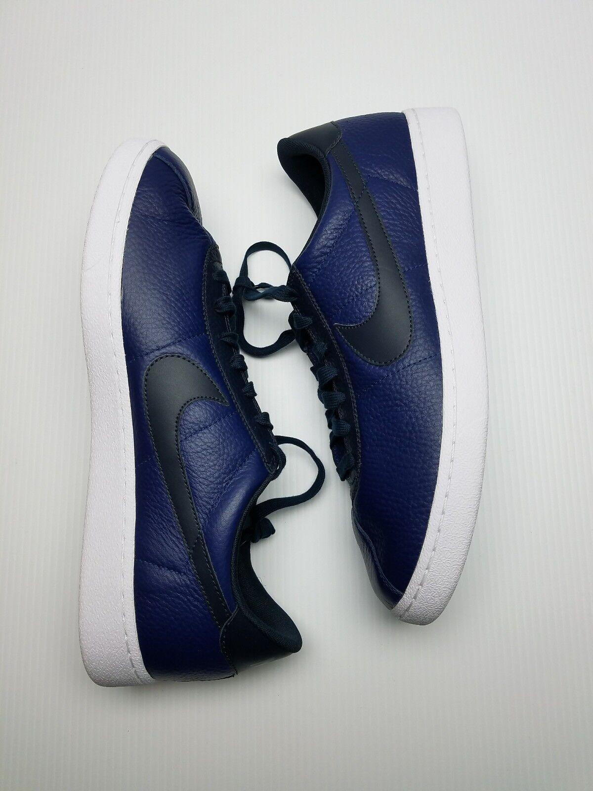 Men's Nike Bruin Leather shoes NEW Dark Obsidian   Black   White , MSRP 100Navy